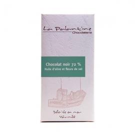 Tablette de chocolat noir à l'huile d'olive et à la fleur de sel